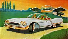 1961 Imperial Streamliner, retro futuristic art