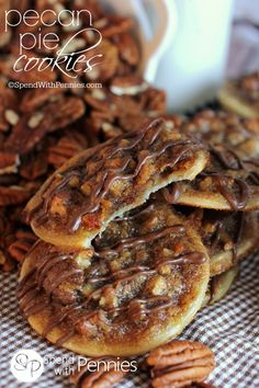 These have a deliciously sweet, caramel-y, nutty filling with a flaky pastry! Easy to make, easier to eat! Ms Cassi doesn't eat pecan pie, but my family will love it. Pecan Pie Cookies, Crinkle Cookies, Cookie Pie, Yummy Cookies, Cookie Swap, Köstliche Desserts, Delicious Desserts, Dessert Recipes, Yummy Food