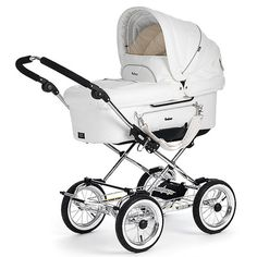 Emmaljunga White Leatherette Mondial duo combi. The best suspension, huge bassinet, roomy seat, big storage tray and all terrain wheels.