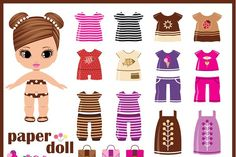 Paper doll with clothes set | Pre-Designed Illustrator Graphics ~ Creative Market Paper Dolls Clothing, Barbie Paper Dolls, Vintage Paper Dolls, Fabric Dolls, Doll Clothes, Circus Activities, Box Template Printable, Fabric Crafts, Paper Crafts