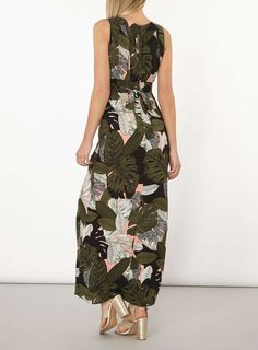 Womens Khaki Palm Print Maxi Dress- Khaki