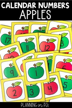 Apple Calendar Numbers for your classroom calendar - perfect for September or an apples theme!   Includes red and green apple calendar numbers in an AB pattern, matching month labels, year cards, and special days/holiday cards.  Can be used in a pocket chart calendar, a homemade poster board calendar, or for various number activities. Calendar Activities, Number Activities, Autumn Activities, Kindergarten Activities, Homemade Posters, Apple Calendar, Month Labels, Calendar Numbers, Classroom Calendar