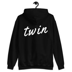 The BESTSELLING Twin hoodie in finally out in Black. You ask, you shall receive. All twins need a go-to Twin hoodie. Ours is the perfect one as it is soft, smooth, and oh-so-chic. It's also perfect for cooler evenings! The Twin Hoodie in Black is your perfect hoodie. Match your twin with any of the other Twinning Store items. • Consists of 50% cotton and 50% polyester • Hood is double-lined for extra comfort • Athletic rib-knit cuffs and waistband • Twin print on back Make sure to tag your… 2pac Songs, Stylish Hoodies, T Dress, Cute Comfy Outfits, Direct To Garment Printer, Justin Bieber, Black Hoodie, New Outfits, Twins
