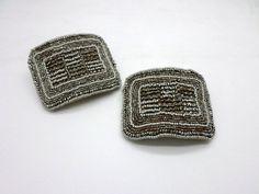 Set of Two Antique Steel Cut Beaded Shoe Buckles by HazyDayStudio