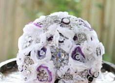 Wedding Brooch Bouquet - Nic's Button Buds  Purple White Silver Fabric bouquet