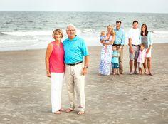 Family beach photos. Grandparents, kids, and grandkids. Hilton Head Island, South Carolina.