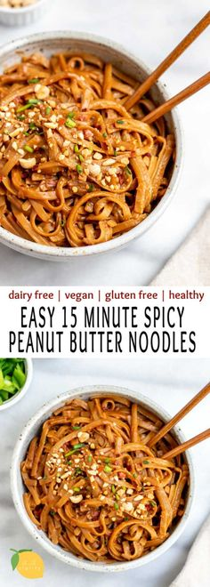 food Spicy peanut butter noodles make the best easy vegan dinner recipe. Theyre healthy gluten free an healthy dinner recipes BUTTER dinner Easy Food free gluten healthy Noodles PEANUT Recipe Spicy Theyre Vegan Best Vegetarian Recipes, Vegan Dinner Recipes, Spicy Recipes, Vegan Dinners, Peanut Recipes, Keto Recipes, Easy Recipes For Dinner, Dessert Recipes, Dessert Food