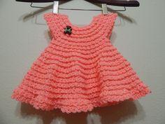 Vestido Crochet 0-3 meses Durazno y cualquier talla parte 1 de 2