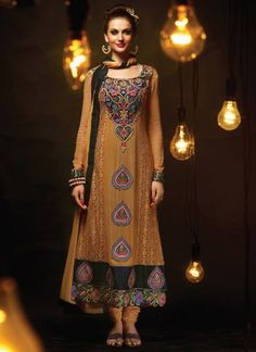 Brown Heavy Faux Georgette Embroidery Work Salwar Suit