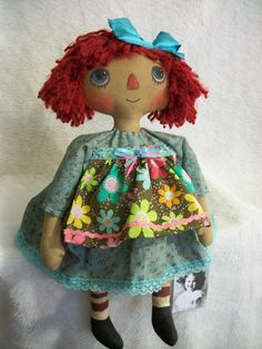 Primitive raggedy Annie doll original hand by Dumplinragamuffin