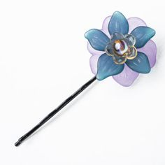 Flower Hair Pin Handmade Hair Bauble Purple Blue by HairBobbies, $6.00