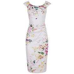 Pale Pink Floral Wiggle Pencil Dress