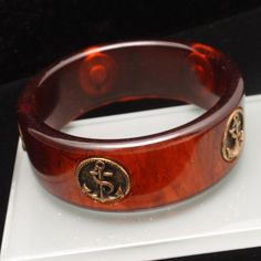 Tortoiseshell Bakelite Bangle Bracelet with Anchors Bangle Bracelets, Bangles, Nautical Jewelry, Anchors, Tortoise Shell, Vintage Jewelry, Rings For Men, Antiques, Shopping