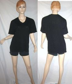 STANDARD JAMES PERSE 100% Combed Cotton Black V Neck Cap Sleeve T Shirt 3