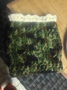 Camo  boot cuff with crocheted lace at top