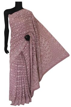 Ada Hand Embroidered Mauve Pure Georgette Lucknowi Chikankari Saree With Blouse -A601976 includes an embroidered blouse, the blouse is worked up with Chikan embroidery and the sleeves include floral motifs. Kindly get connected on +91-9919920030. #Ada #handembroidered #handcrafted #Adachikan #chikankari #chikanembroidery #shoponline #lucknowi #lakhnavi #lucknow #traditionalcraft #needlecraft #puregeorgette #saree #sareewithblouse #lucknowisaree #chikankarisaree #floral #chikanstitches