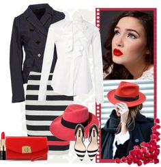 """the red hat"" by bodangela ❤ liked on Polyvore"