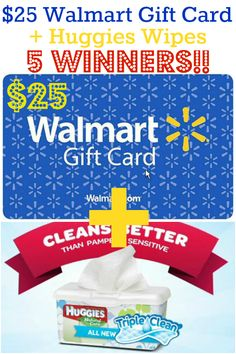 I love these giveaway for wipes! We use them all of the time at our house. This giveaway is also for a $25 Walmart Gift Card!