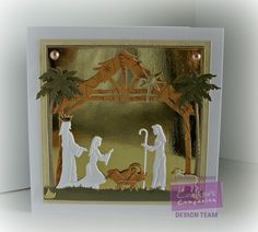 7 x 7 card using the Sara Signature Traditional Christmas. collection Away in a Manger die - designed by Gaynor Greaves Christmas Paper Crafts, Christmas Nativity, Christmas Tag, All Things Christmas, Handmade Christmas, Christmas Ideas, Fall Cards, Xmas Cards, Holiday Cards