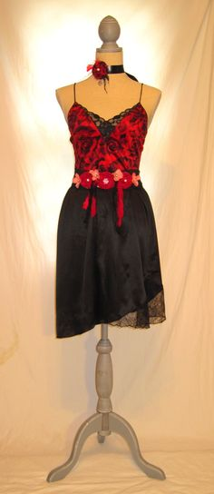 Women's charming fancy high waist strap dress, floral patterns over attractive red shiny black lace combination, urban chic high tea party by 777DressCode, $78.75