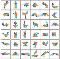 The tangram is a very ancient Chinese game, where through 7 geometric pieces, which forms a square, you can make a huge number of figures. Educational Activities, Activities For Kids, Tangram Printable, School Projects, Projects To Try, Tangram Puzzles, Math Books, Learning Through Play, Pattern Blocks