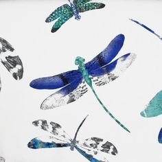 Dragonfly Dance Fabric A semi-sheer pure linen curtain fabric printed with a swarm of dragonflies in turquoise, charcoal and blue on a white ground. Designed by Matthew Williamson.