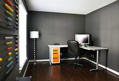 Grey walls with dark wood floors (like we have). Good info on paint colors in this blog post. PS-Love the abacus on the wall idea! Fun splash of color.