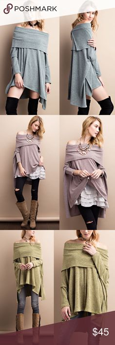 ENSLEY oversized poncho style top - OLIVE ENSLEY Super soft and comfy dual tone sweater.  Swingy silhouette.  Oversized fit. 3/4 sleeves.  AVAILABLE IN MUAVE, MUSTARD AND OLIVE NO TRADE, PRICE FIRM Bellanblue Tops