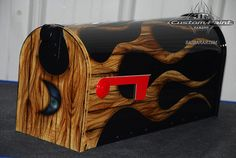 Airbrushed Woodgrain Flames on Mailbox by jtscustoms, via Flickr