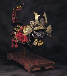 SOURCE TUMBLR.COM........... Samurai Helm, Chinese Armor, Cat Furniture, Crazy Cat Lady, Crazy Cats, Steampunk, Cat Armor, Costume Armour, Military Armor