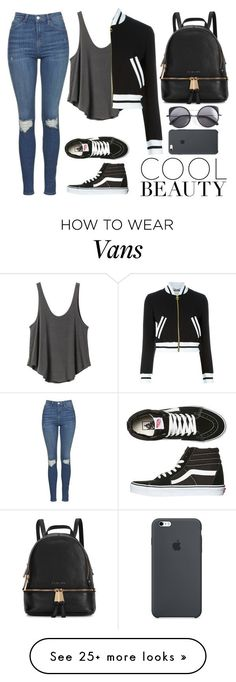 """"" by geoxique on Polyvore featuring Topshop, RVCA, Vans, Michael Kors, Moschino, Wood Wood, Spring, cool, Beauty and jeans"