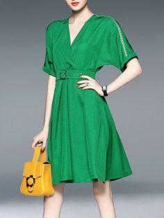 Shop Midi Dresses - Green Pierced Half Sleeve Midi Dress online. Discover unique designers fashion at StyleWe.com.
