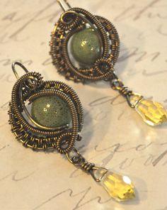 Bronze Earrings with Porcelain & Czech Beads. $25.00, via Etsy.