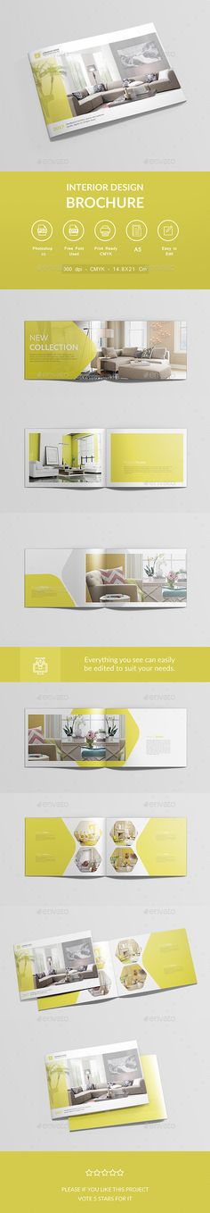 Buy Interior Design Brochure by AlfaresIT on GraphicRiver. Interior Design Brochure Features File Size: cm with bleeds 3 mm Fully Editable 12 Pages 300 dpi Corporate Brochure Design, Creative Brochure, Brochure Layout, Brochure Template, Graphic Design Layouts, Book Design Layout, Graphic Design Posters, Magazine Ideas, Lato Font