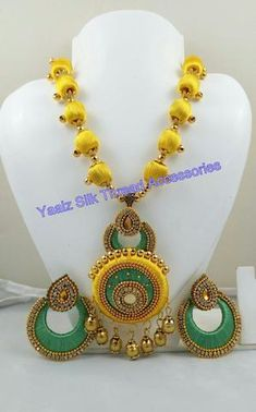 silk thread Bangle Earring Jumka-Yaalz Chain Neckset & Matching Chand Bali Earring Combo In Yellow And Light Green Color Combo-YAALZ Silk Thread Bangles Design, Silk Thread Earrings, Thread Jewellery, Beaded Necklace Patterns, Jewelry Patterns, Thread Chains, Fabric Basket Tutorial, Jewelry Crafts, Jewelry Design