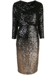 Shop online black Badgley Mischka sequin embellished fitted dress as well as new season, new arrivals daily. Black Sequins, Badgley Mischka, Mid Length, Baby Design, Color Blocking, Women Wear, Formal Dresses, Fitness, Fashion Design