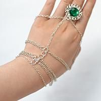 How to Make a Silver Chain Linked Bracelet with Green Rhinestone Ring