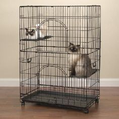 Pet Cat Cage Safety Carrier Crate Habitat Wheeled Safety Latch w Perch and Trays #Unbranded
