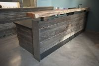 recycled wood reception desk