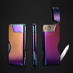 Jobon Swiss Knife Electronic Lighter ZB-380 (Dazzle Color) USB Rechargeable Same Slim with iphone6 Smart IC on 7 seconds Automatically Extinguished ** You can find out more details at the link of the image.