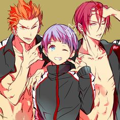 Rin, Nitori, Mikoshiba ~ Free! Iwatobi Swim Club [http://www.pixiv.net/member_illust.php?mode=mediumillust_id=41170457]