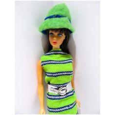 Vintage Mattel 1968 TNT Barbie Brunette in Now Knit Vintage Barbie Dolls, Crochet Hats, Knitting, Fashion, Knitting Hats, Moda, Tricot, La Mode, Breien