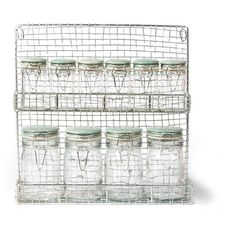 Wire Spice Rack with Blue Storage Jars at Garden Trading ($34) ❤ liked on Polyvore featuring home, kitchen & dining, food storage containers, spice rack, spice carousel, spice storage jars, spice jars and garden trading
