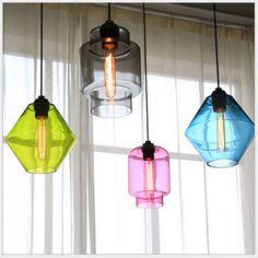 בציר בעבודת יד יצירתית צבעי סוכריות זכוכית קריסטל led e27 תליון אור לחדר אוכל בר מסעדה ac 80 - 265 v 1365