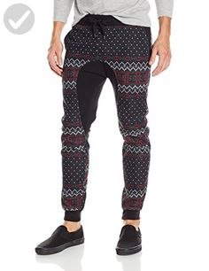Southpole Men's Jogger Pants Fleece Fabric with All Over Nordic Mono Patterns and Drop Crotch, Black, X-Large - Mens world (*Amazon Partner-Link)