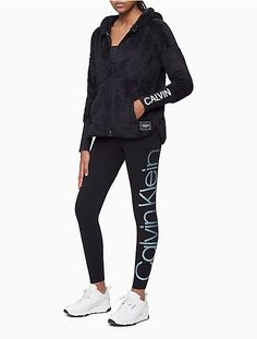 Performance Side Logo High Waist 7/8 Leggings | Calvin Klein Dance Workout Clothes, Champion Wear, Womens Workout Outfits, Athletic Outfits, Cotton Spandex, Calvin Klein, Black Jeans, Leggings, Pullover