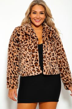Add this jacket to your winter essentials! faux fur, animal print, collared, long sleeve, and a front clasp closure. Coats For Women, Jackets For Women, Best Winter Jackets, Leopard Print Top, Beautiful Outfits, Winter Fashion, Winter Essentials, Plus Size, Long Sleeve