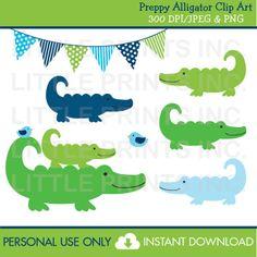 Preppy Alligator Clipart INSTANT DOWNLOAD por LittlePrintsParties