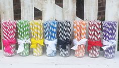This listing is for 10 reusable acrylic candy stripe 9 straw. These are great for mason jar cups and or to add a little extra something special to