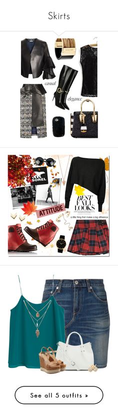 """""""Skirts"""" by neha-jashnani ❤ liked on Polyvore featuring Alexander McQueen, MCM, Michael Kors, Gucci, CasualElegance, SOREL, Victoria, Victoria Beckham, H&M, Crea Concept and Pamela Love"""